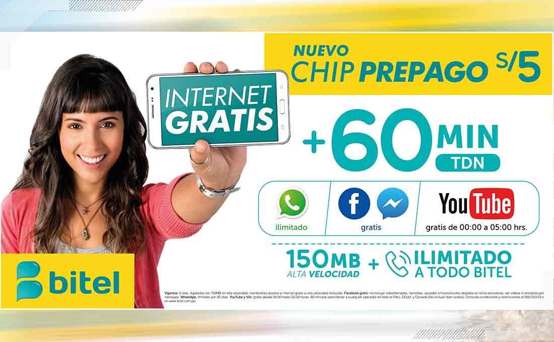 Bitel tre internet ilimitado y otros beneficios por sólo S